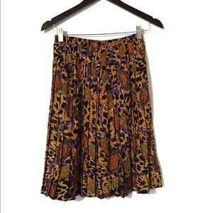 Vintage Leopard Animal Chain Print Pleated Skirt